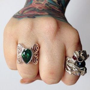 Jewelry - sz 8 Huge Green Quartz + Sterling Silver Ring